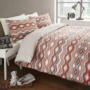 Luxury Stockholm Reversible Duvet Quilt Cover Double Bed Bedding Set Orange New