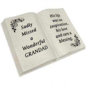 David Fischhoff Grandad Floral Design Diamante Memorial Book, Poly Resin Cream