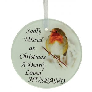 Husband Christmas Robin Memorial Tree Hanging Decoration Gift Plaque