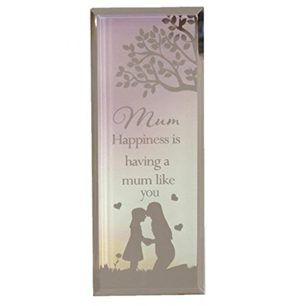 Reflections of the Heart Mirror Glass Standing Plaque Gift – Mum