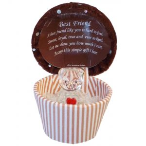Cupcake Crystal Style Teddy Bear Glass Gift Box For Best Friend