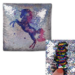 IEP Unicorn Sequin Mermaid Two Way Filled Cushion 40cm, Silver and Rainbow