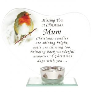Missing You at Christmas Mum Glass Memorial Robin Heart Plaque with Tealight Holder