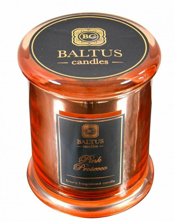 Luxury Scented Candle Metallic Gold Glass Jar with Lid Pink Prosecco Fragrance