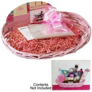 Make Your Own Hamper Kit Pink Basket; Bag; Ribbon; Wood Wool - 40cm x 30cm