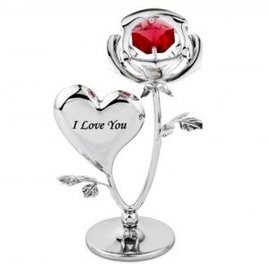 Crystocraft Rose and Heart Ornament with Swarovski Crystal