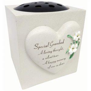 David Fischhoff Special Grandad Lily Heart Design Verse Grave Memorial Rose Bowl, Weatherproof - for Graveside Flower Arrangements, 14 X 15 Cm
