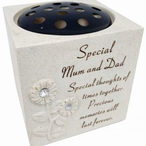 David Fischhoff Mum & Dad Diamante Sunflower Rose Bowl with the Following Verse Grave Memorial, for Graveside Flower Arrangements