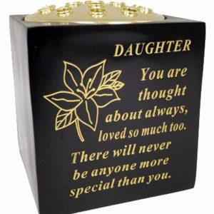 David Fischhoff Daughter Black and Gold Grave Memorial Rose Bowl, Weatherproof - for Graveside Flower Arrangements, 14 X 15 Cm