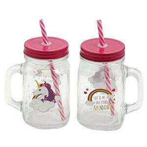 400 ml Kids Unicorn Rainbow Design Glass Jar Mason Drink Juice Mug With Straw Set of 2