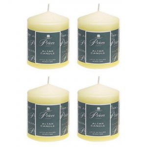 4 x Prices Ivory Altar Candle 100mm X 80mm 50 Hours Burn Time