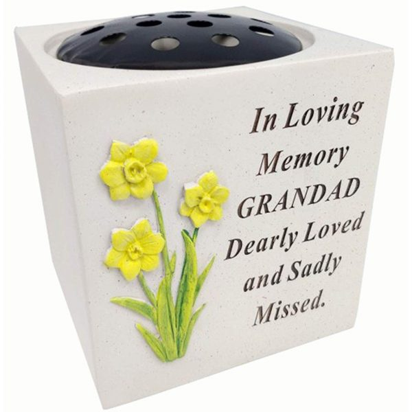 Grandad Daffodil Rose Bowl with Diamante Decoration Grave Memorial, Weatherproof - for Graveside Flower Arrangements, 14 X 15 Cm