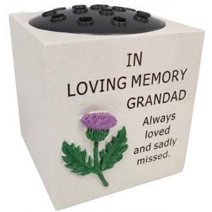 David Fischhoff Thistle Grave Memorial for Grandad Lovely Design Rose Bowl, Weatherproof - for Graveside Flower Arrangements 14 X 15 Cm