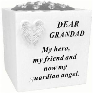 David Fischhoff Grandad White Angel Wings Rose Bowl with Silver Lid, Weatherproof - for Graveside Flower Arrangements, 14 X 15 Cm