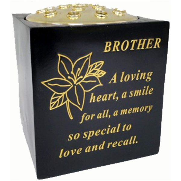 David Fischhoff Brother Black and Gold Grave Memorial Rose Bowl, Weatherproof - for Graveside Flower Arrangements, 14 X 15 Cm