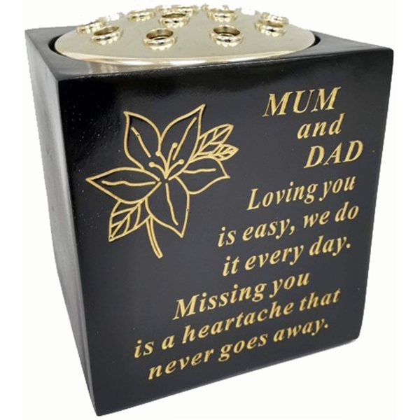David Fischhoff Mum and Dad Black And Gold Grave Memorial Rose Bowl, Weatherproof - For Graveside Flower Arrangements, 14 X 15 Cm