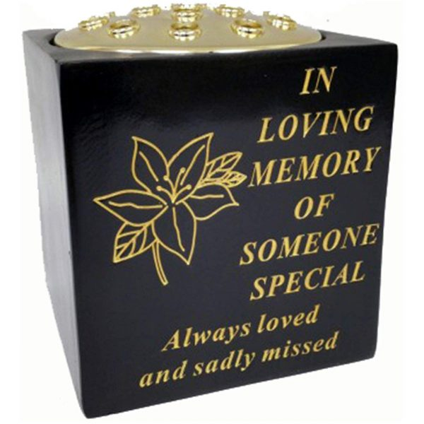 David Fischhoff Someone Special Black And Gold Grave Memorial Rose Bowl, Weatherproof - For Graveside Flower Arrangements, 14 X 15 Cm