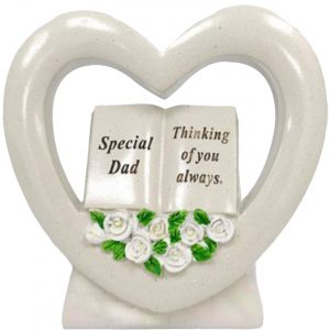 David Fischhoff Special Dad book in heart with white roses Memorial Stone Ornament Grave Plaque, Waterproof and Weather Resistant, Cream