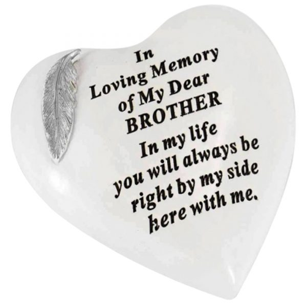 Special Brother Graveside Memorial Feather Heart Grave Plaque Ornament Decoration