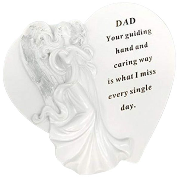 David Fischhoff Dad White and Silver Angel Heart, Remembrance Spike, Durable Frost Resistant Resin Tribute, Plaque Heart