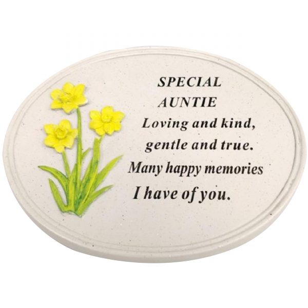 Auntie Memorial Raised Daffodil Rose Flower Grave Keepsake Stone Oval Plaques Tributes