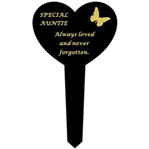David Fischhoff Auntie Black Plastic Heart Stake With Gold Lettering Ornament Grave Plaque, Waterproof and Weather Resistant