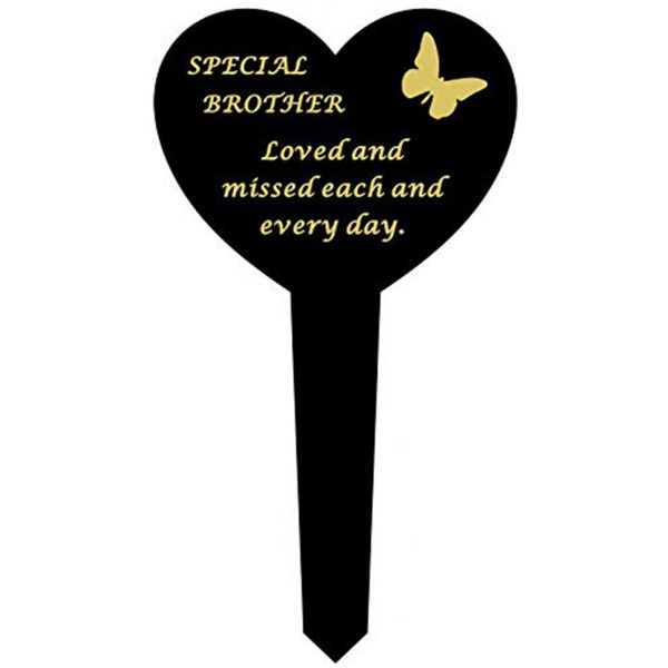 David Fischhoff Brother Black Plastic Heart Stake With Gold Lettering Ornament Grave Plaque, Waterproof and Weather Resistant