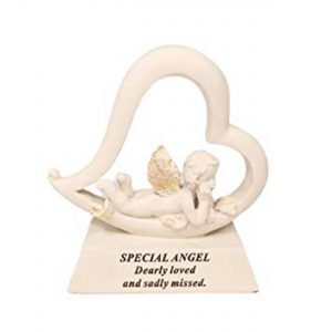 David Fischhoff Angel Cream and Gold Cherub in Heart Stone Ornament Grave Plaque, Waterproof and Weather Resistant