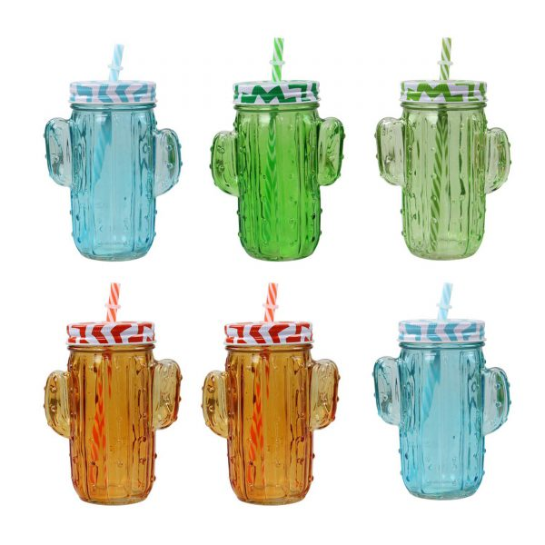 6 X Cactus Shape Mason Jam Jar Glasses Lid Straw Juice Drink