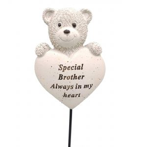 David Fischhoff Brother Teddy Bear Heart Memorial Tribute Stick Graveside Plaque, Ideal to Place at the Graveside Cream 9cm X 7cm