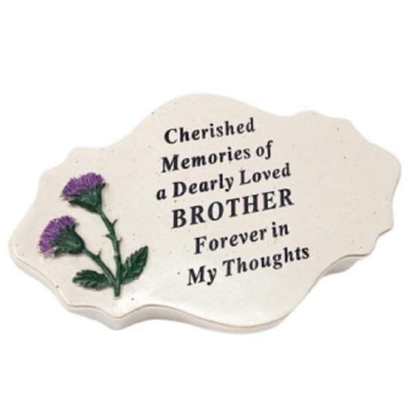 David Fischhoff Brother Thistle Decoration Plaque Tribute Graveside Memorial Ornament Stone Cream