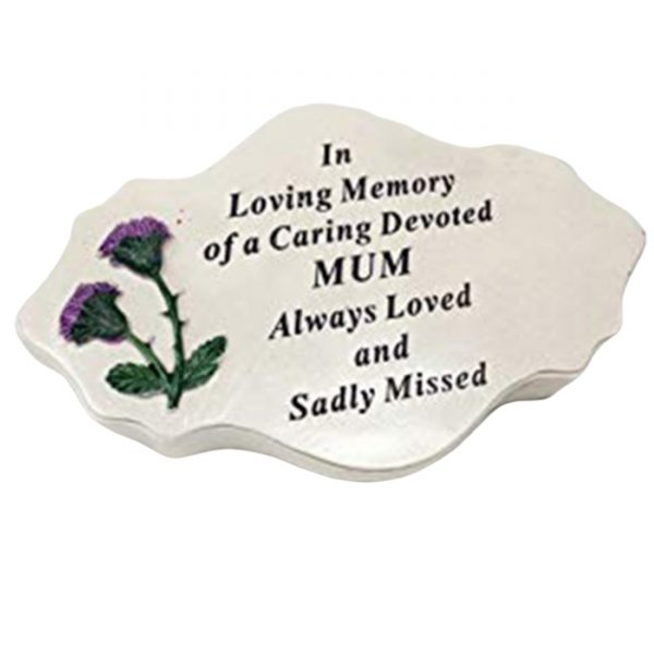 David Fischhoff Mum Thistle Decoration Plaque Tribute Graveside Memorial Ornament Stone Cream