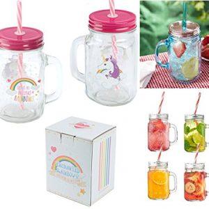 Unicorn Mason Drinking Jar Children's Drinking Jar Straw Summer Water Juice Mug 400ml Wilsons Direct Set Of 4