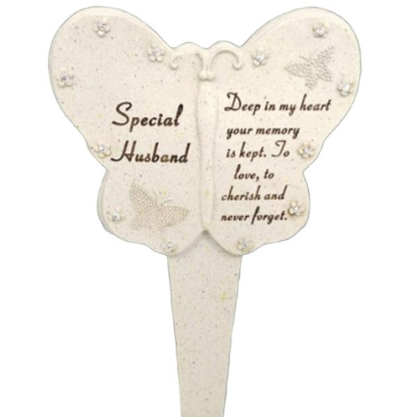 David Fischhoff Husband Diamante Memorial Butterfly Stake Garden Stone Plaque Grave Ornament pushes in ground, 23 cm x 13 cm