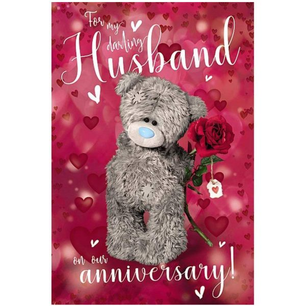 Me To You Bear 3D Holographic Husband Anniversary Card