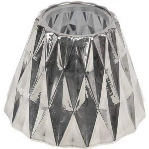 Woodwick Medium Geometric Glass Shade, Silver Color  13.4 x 13.9 x 10.4 cm