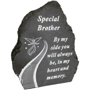 Black And White Stairway To Heaven Special Brother Tribute Detail Rock Memorial Grave Plaque