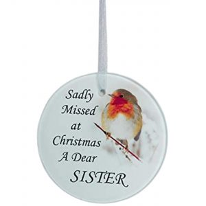 David Fischhoff Robin Christmas Tree Hanging Glass Memorial Ornament - Choice of Relative (Sister)