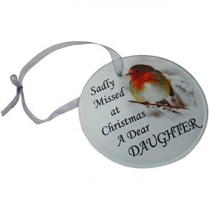 Dear Daughter Robin Christmas Tree Hanging Glass Memorial Ornament