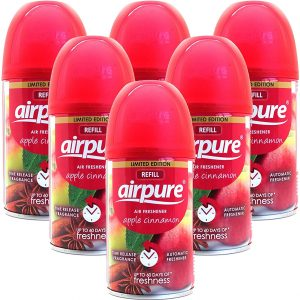 6 X Airpure Freshmatic Automatic Spray Refills 250ml Apple Cinnamon