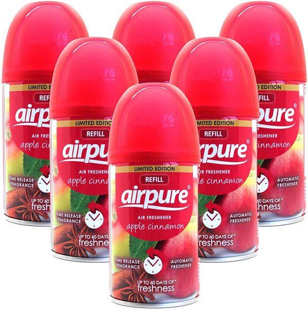 6 X Airpure Freshmatic Automatic Spray Refills 250ml Apple Cinnamon