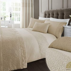 Glitz Cream Sequined Double Quilt Duvet Cover and 2 x Pillowcase Bed Set Modern Luxury Glamour