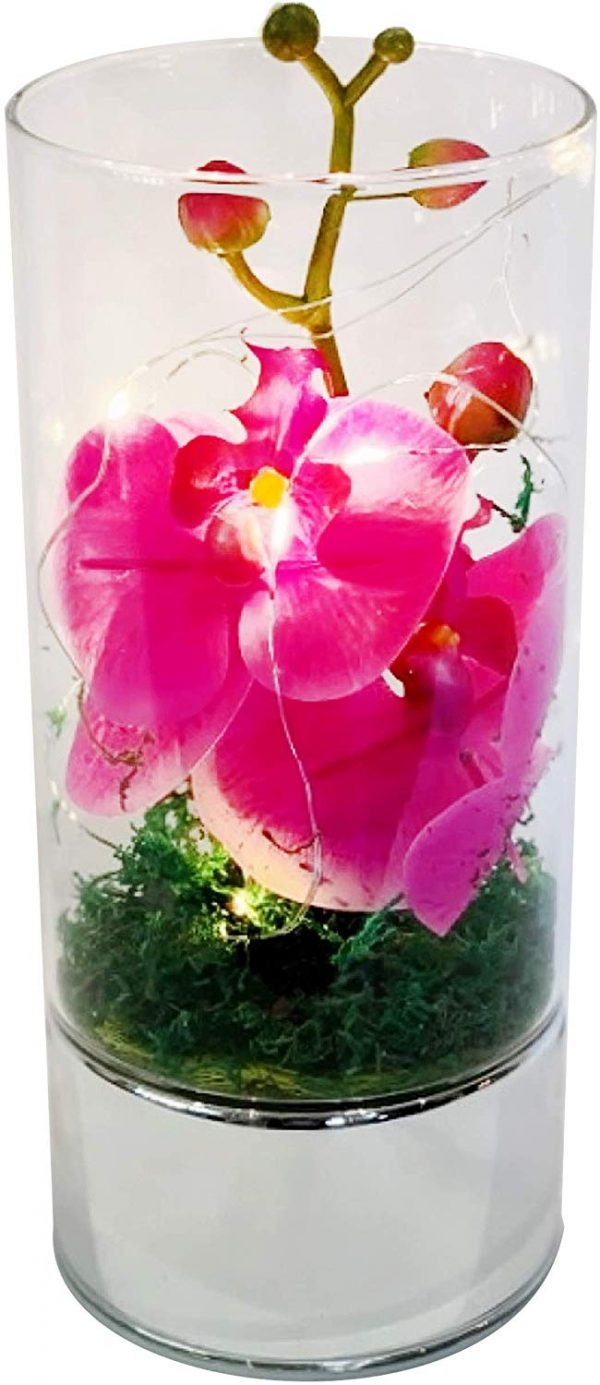 Medium Led Glass Tube Vase with Artificial Pink Orchids Flowers & 6 Decorative Led Lights Home Decor