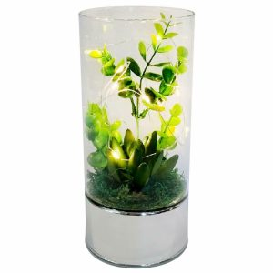 Large Led Glass Tube Vase with Artificial Green Flowers & 6 Decorative Led Lights