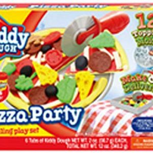 Kiddy Dough Pizza Party Modeling & Sculpting Playset Non Toxic Compound Children's Kids' Craft Set with 6 Can & 12 Toping Molds