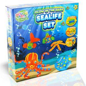 DOUGH TASTIC Glow In The Dark Sealife Dough Set   Onderwaterwereld Non-Toxic Multi-Colors 9 Piece Modeling Art Crafts Gift for Kids 3 & Up