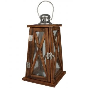 Carousel Home Nautical Tapered Dark Wooden Hurricane Candle Lantern 30Cm X 15Cm
