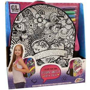 GL Style Colour Your Own Sequin Switch Back Pack Love Heart Girls Fashion Carry Bag