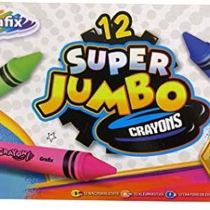 Grafix Super Jumbo Colouring Crayons Mixed Colours Box of 12