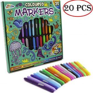 Grafix 20 Pcs Felt Tips Pens Multi Coloured Permanent Marker Pens